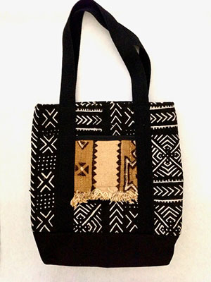 Black White Mud Cloth Tote