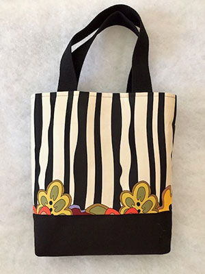 Black White Stripe Tote