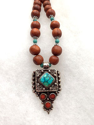 Wood Tibetan Necklace